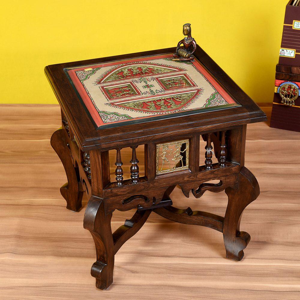 Munich-II Bedside Table with Oriental Legs in Teakwood with Walnut Finish (18x18x18)
