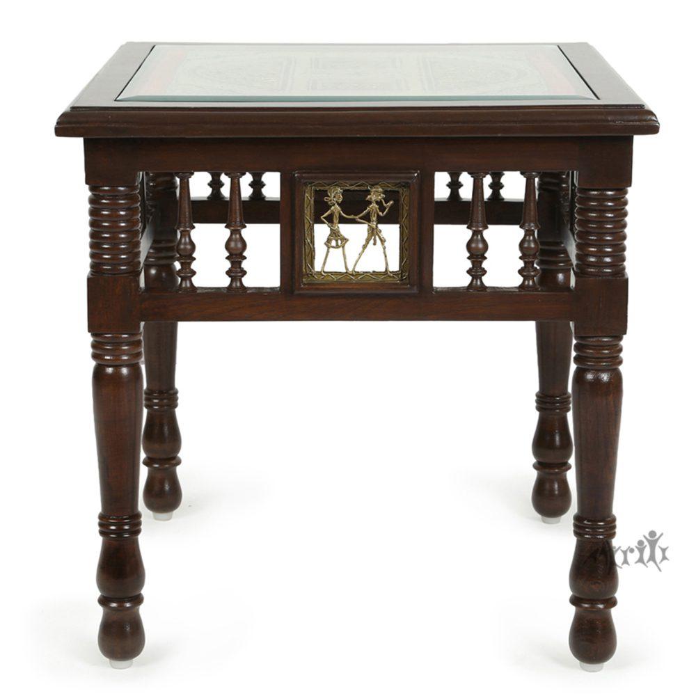 Yuge-III End Table in Teakwood with Walnut Finish (20x20x20)