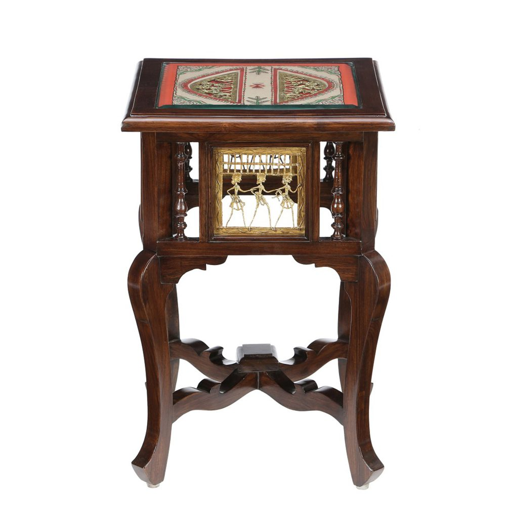 Harbi End Table in Teakwood with Walnut Finish (16x16x24)
