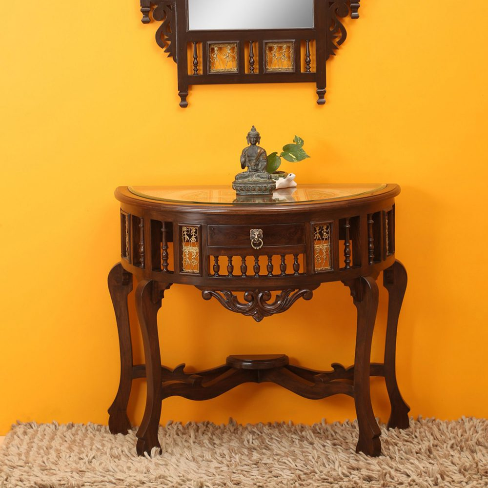 Awadh Console Table in Teakwood with Walnut Finish (36x18x30)