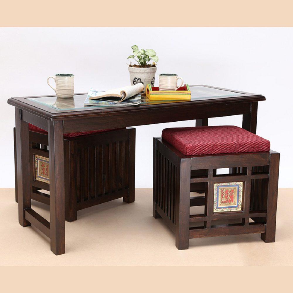 Mudra Coffee Table in Teakwood with Walnut Finish (36x16x22)