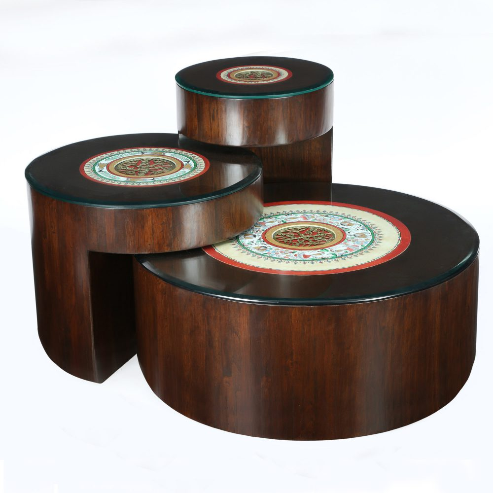 Ark Coffee Table (Set of 3) in Teakwood with Walnut Finish