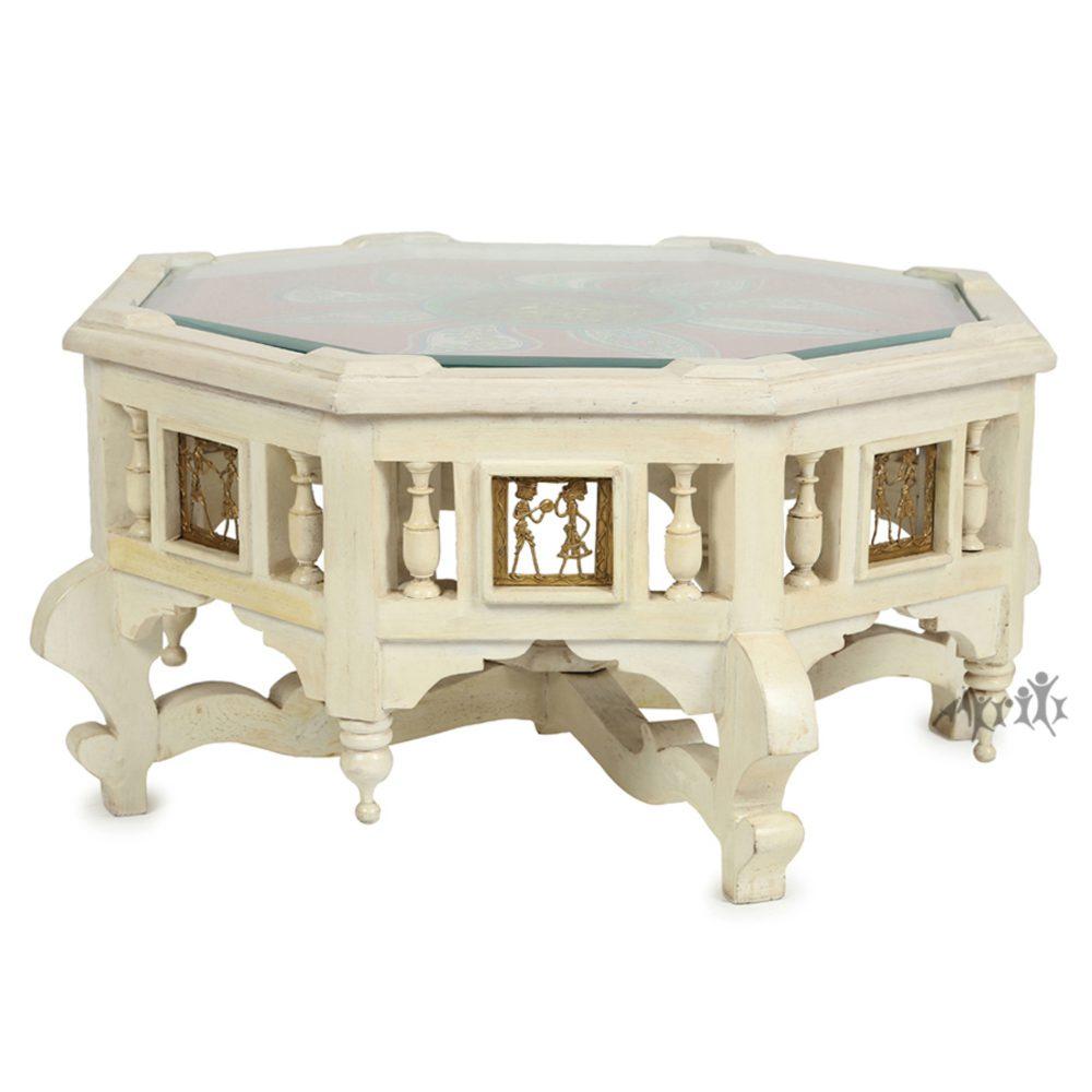 Elba-II Coffee Table in Teakwood with Ivory Finish (24x24x12)