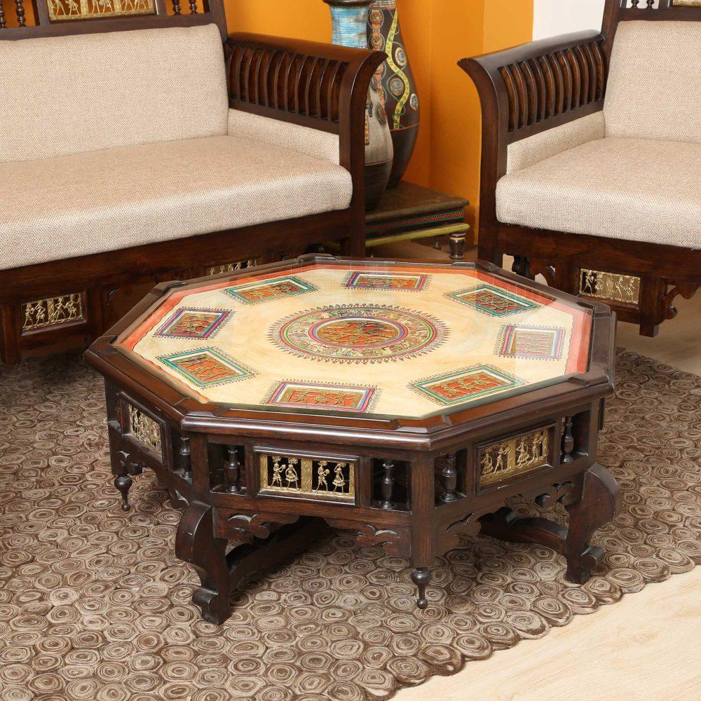 Nube Coffee Table in Teakwood with Walnut Finish (34x34x15)