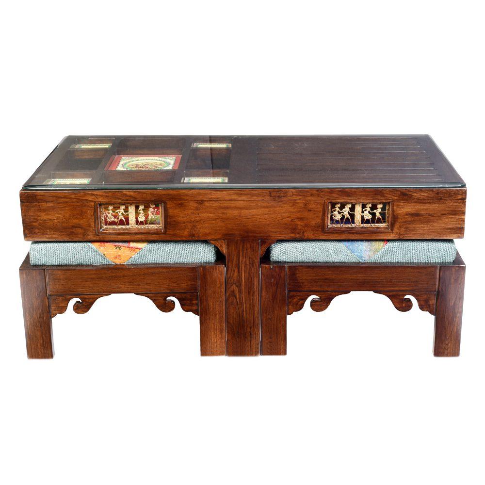 Zenga Two Seater Coffee Table Set in Teakwood with Walnut Finish (39x21x16)