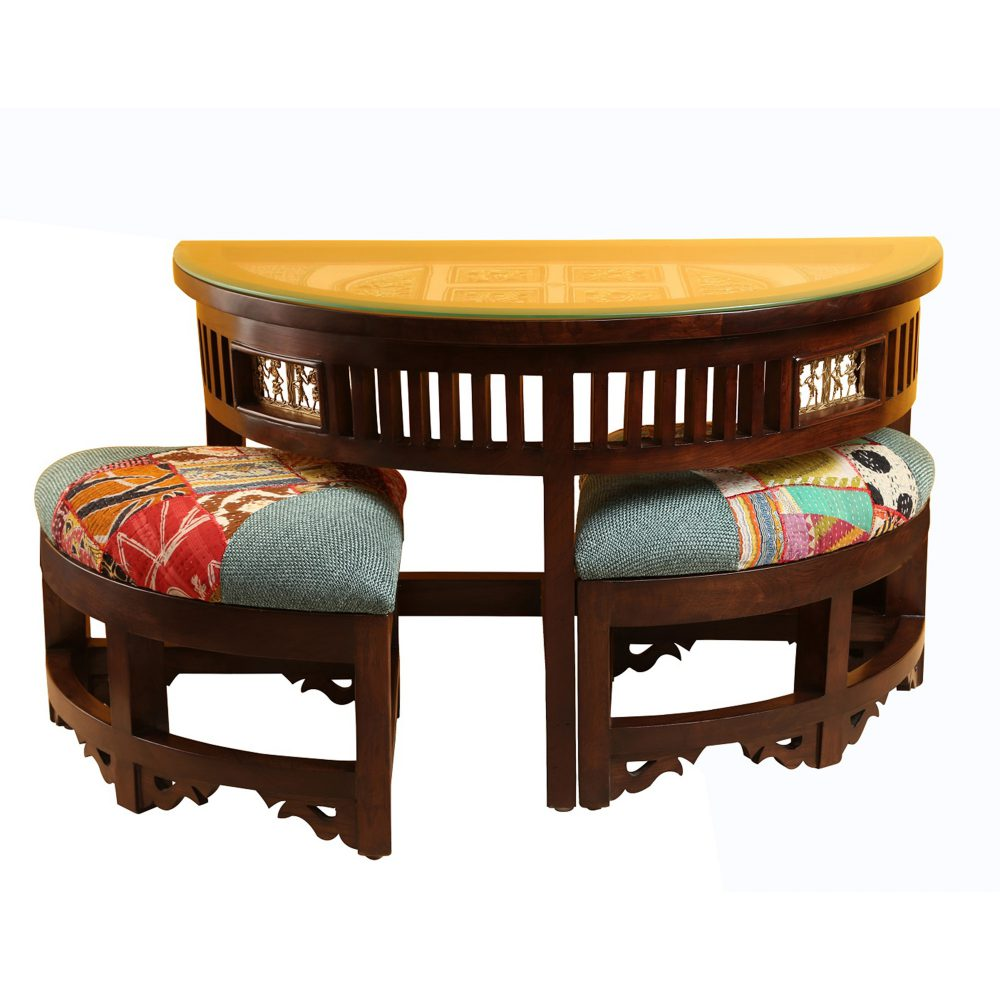 Cresent Two Seater Set in Teak Wood with Walnut Finish (36x18x23)