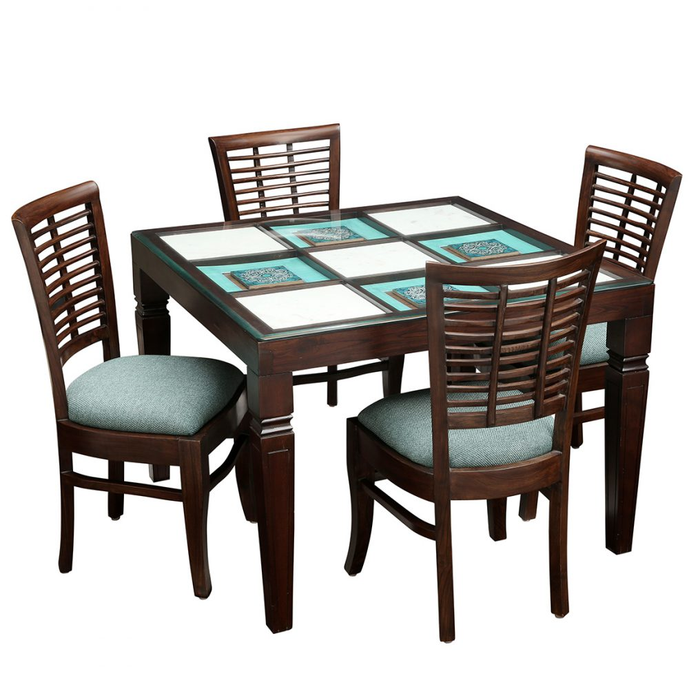 Ibiza Teak Wood contemporary Dining Table with Marble Tiles and Four Soha Chairs (42x42x30)