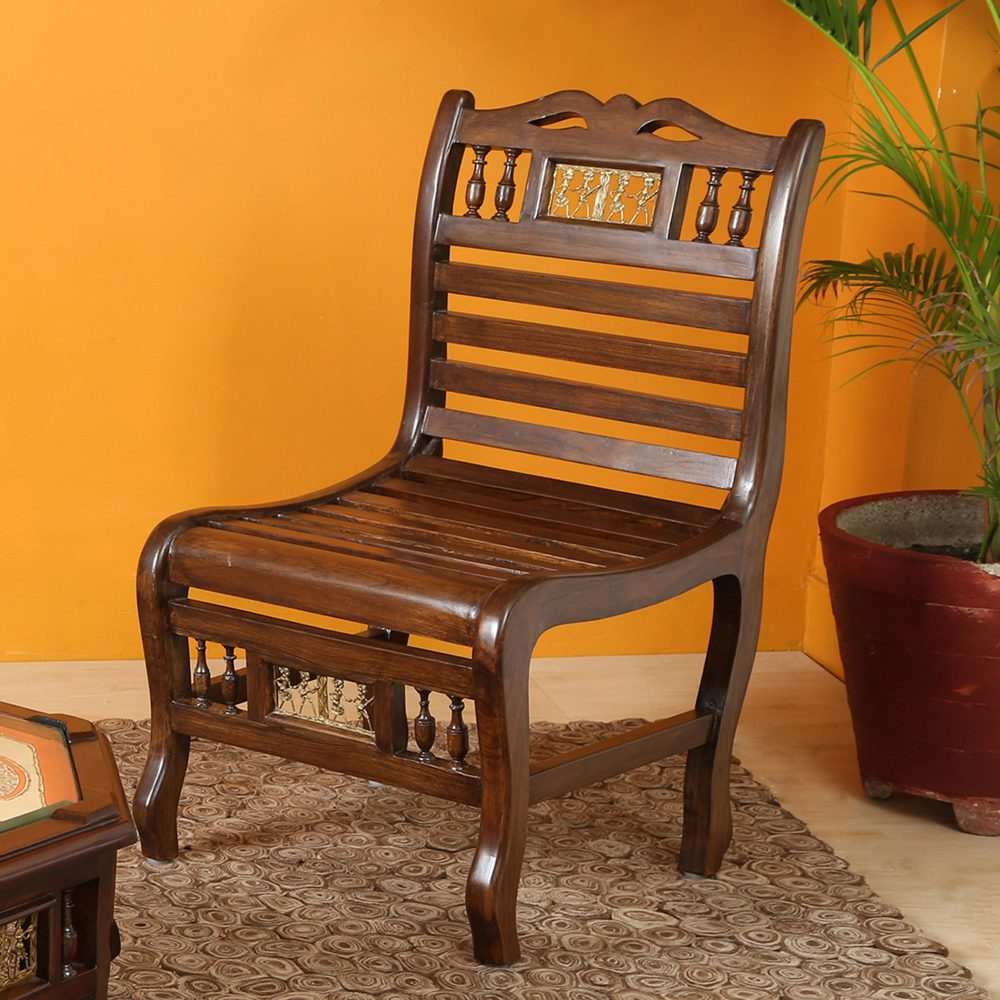 Costa Bench Chair in Striped Wood Pattern created in Walnut Finish Teakwood (18x22x33)