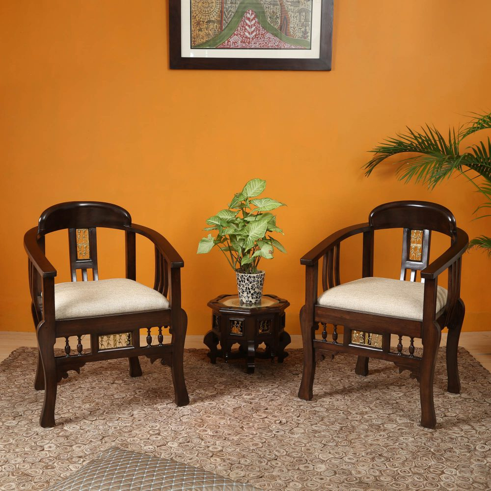 Espa Armchair in Premium Teakwood Walnut Finish