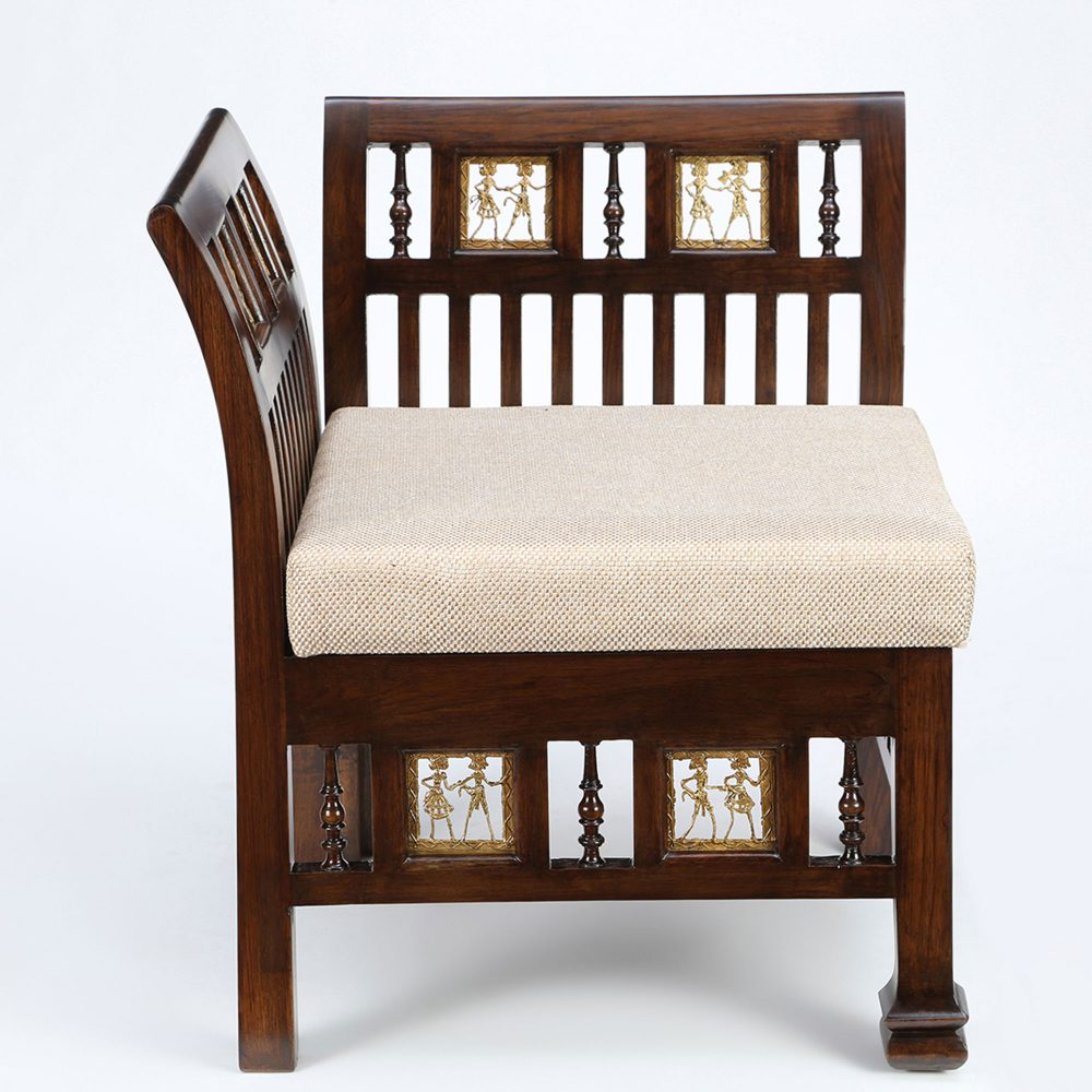 Arka Single Seater Sofa in Teakwood with Walnut Finish (24x24x28)