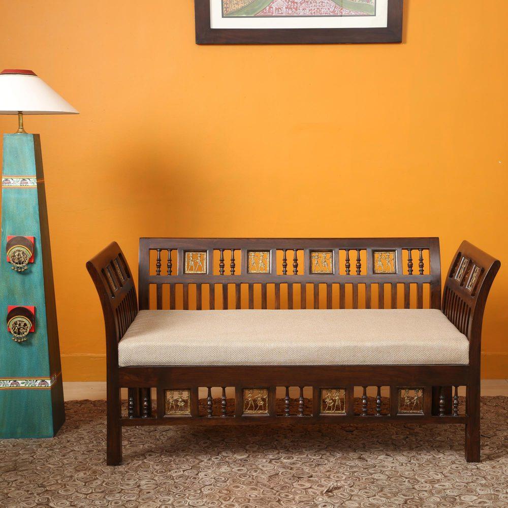 Arka 2 Seater Sofa in Walnut Colour by Aakriti Art Creations (48x24x27)
