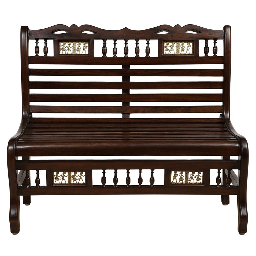 Costa Bench Chair Double Seater in Striped Wood Pattern with Walnut Finish (36x22x32)