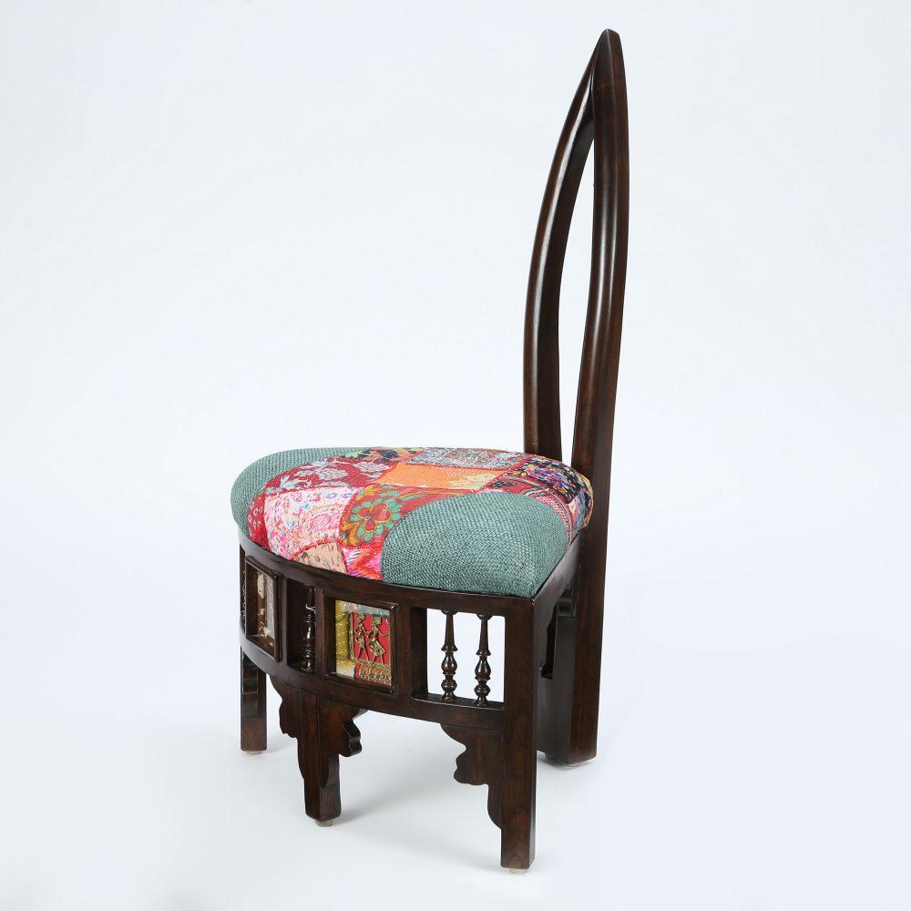 Helena-II Lobby Chair (Small) with Stylish Backrest created in Teak Wood with Walnut Finish (24x19x36)