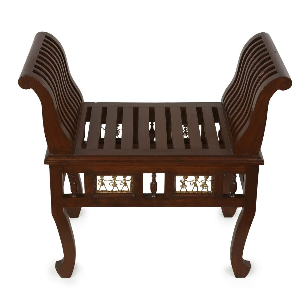 Cleo Ottoman Seater in Striped Wood Pattern finished in Walnut Color (27x15x24)
