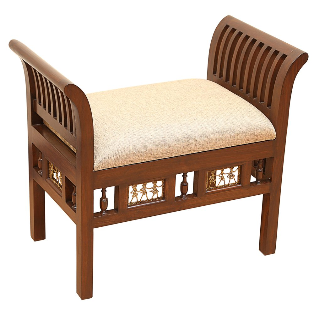 Cleo-II Ottoman with Cushioned Seat in Striped Wood Pattern finished in Walnut Color (27x15x24)