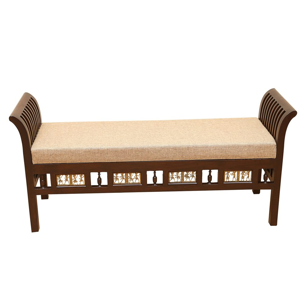 Myla-III Ottoman Cushioned Double Seater in Striped Wood Pattern finished in Walnut Color (52x15x24)