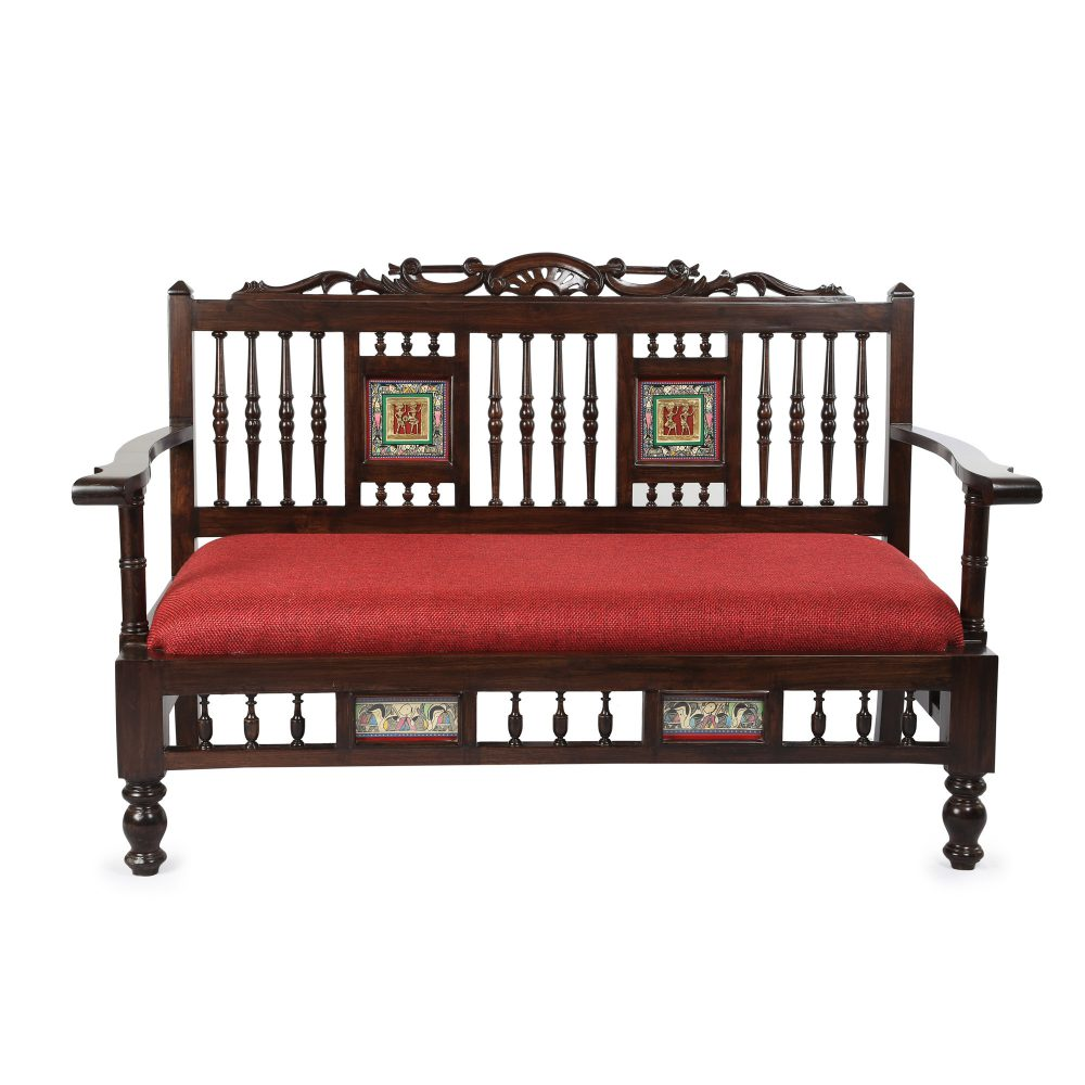 Riviera Low Rise Double Seater Sofa in Teakwood with Walnut Finish (51x25x33)