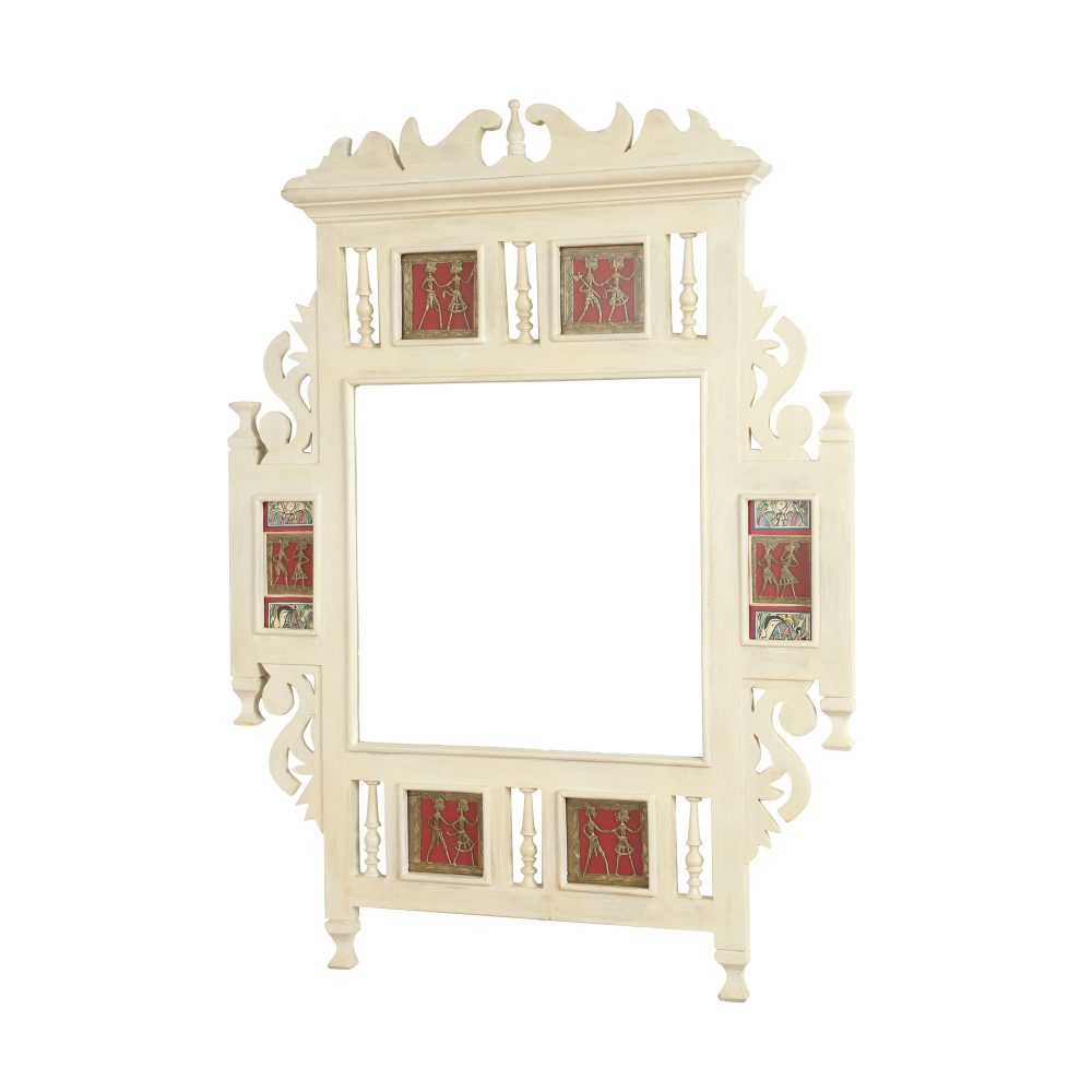 Lavanya-II Teakwood Mirror in Ivory Finish adorned with Brass Frames (28x2x36)