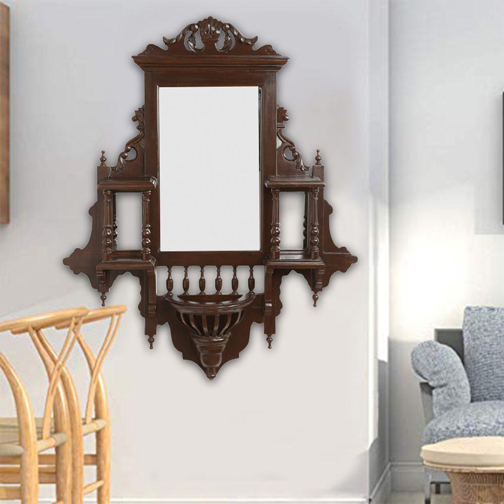 Padmini Teakwood Mirror in Jharokha Style in Walnut Finish (33x9x38)