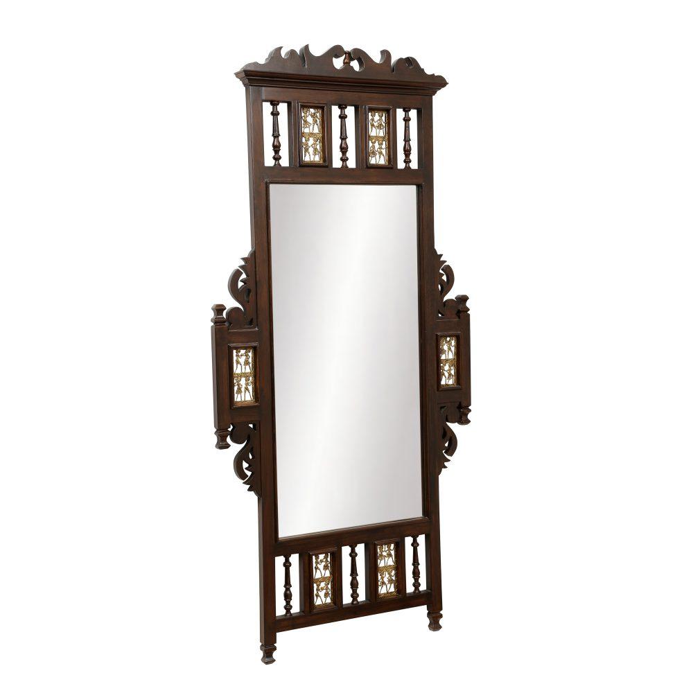 Nyka Teak Wood Mirror Full Size in Walnut Finish (30x2x60)