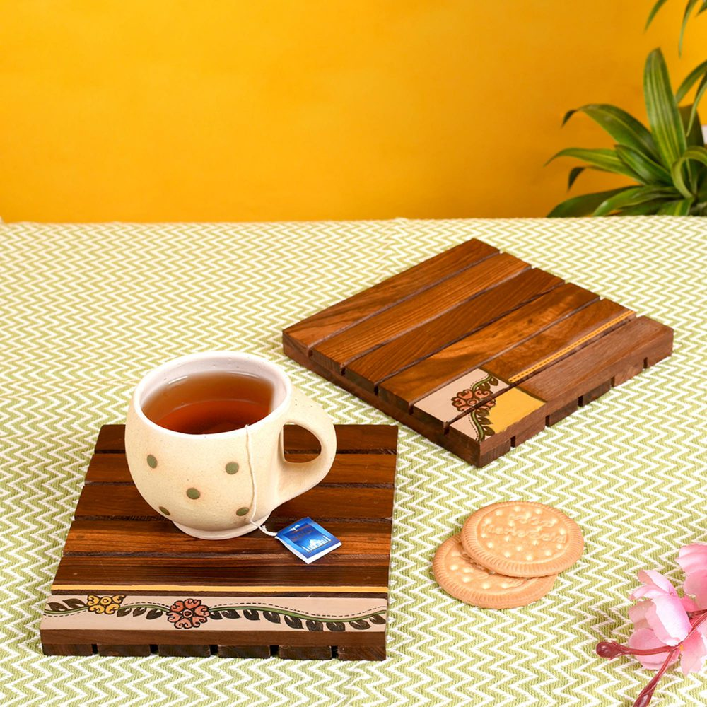 """Coaster Wooden Handcrafted with Tribal Art (Set of 2) (6x6"""")"""