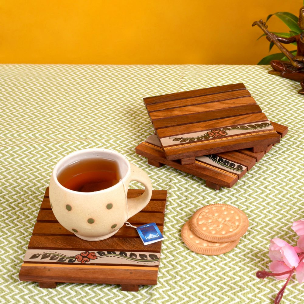 """Coaster Wooden Handcrafted with Flower Motifs (Set of 3) (5x5"""")"""