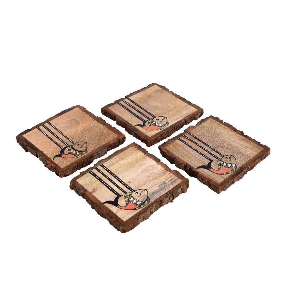 """Coaster Mangowood Handcrafted with Madhubani Art (Set of 4) (4x4"""")"""