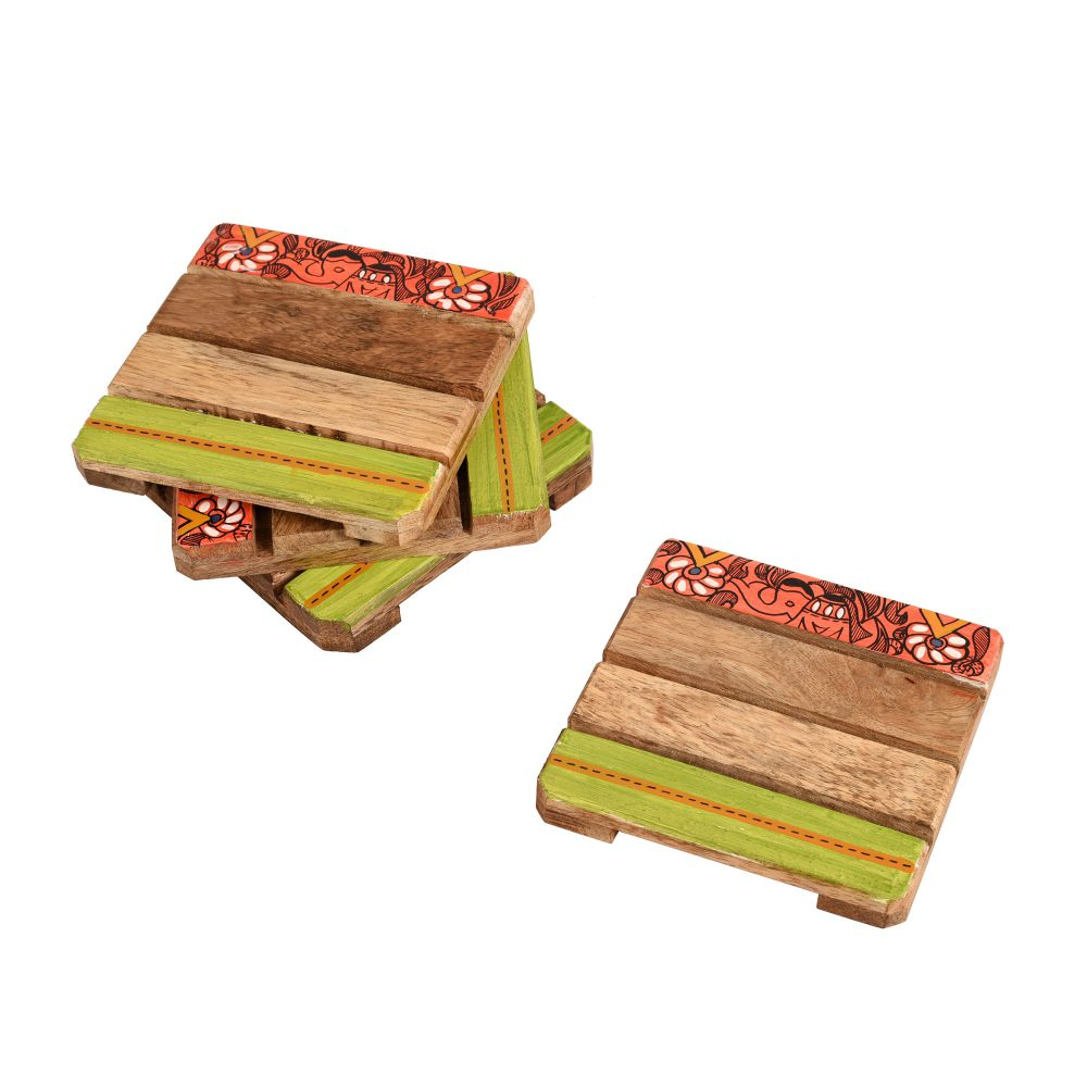 "Coaster Sq Mangowood Handcrafted with Madhubani Art (Set of 4) (4x4"")"