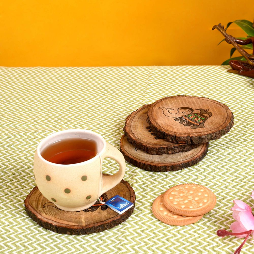 """Coaster Round Wooden Handcrafted with Tribal Art (Set of 4) (4x4"""")"""