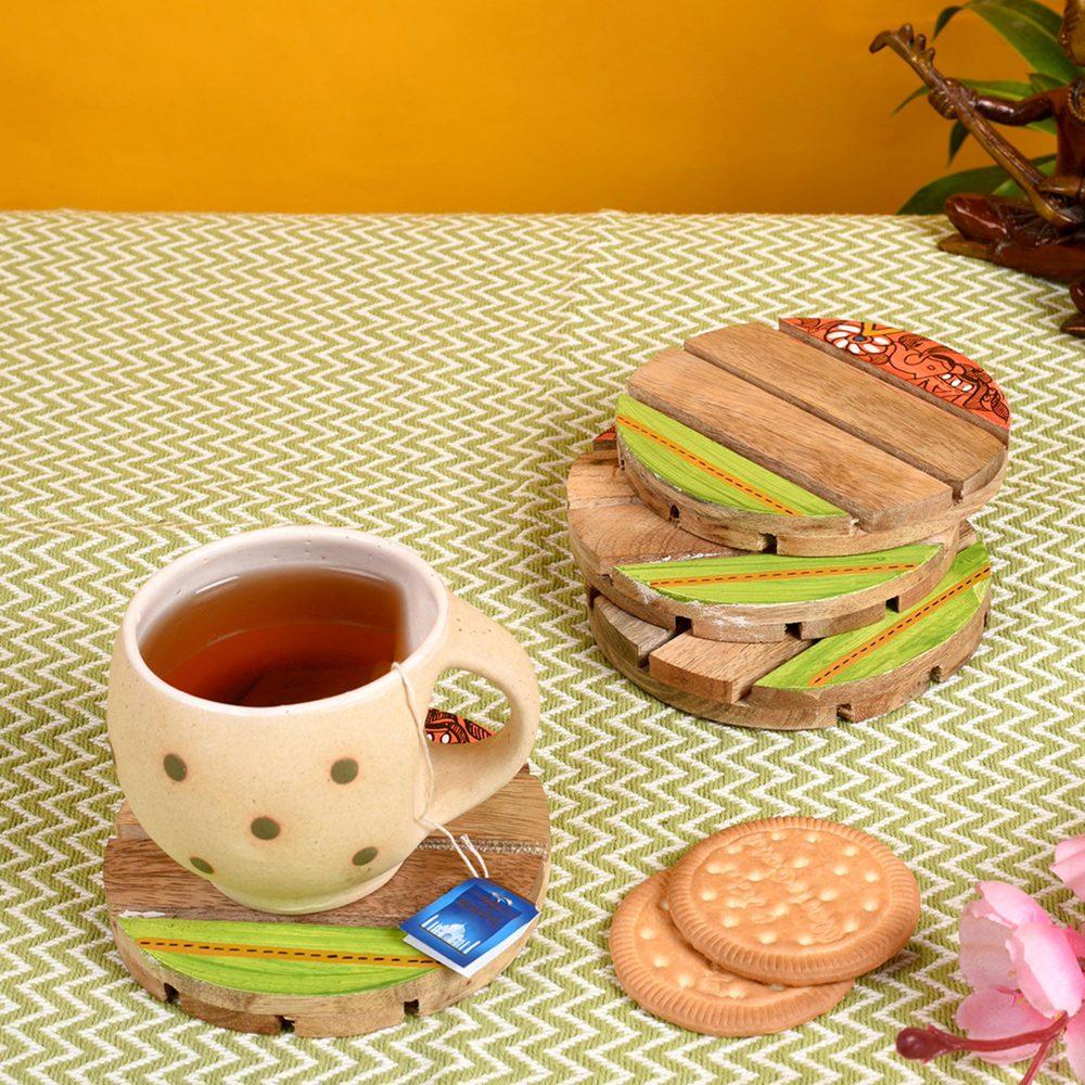 "Coaster Round Wooden Handcrafted with Madhubani Art (Set of 4) (4x4"")"