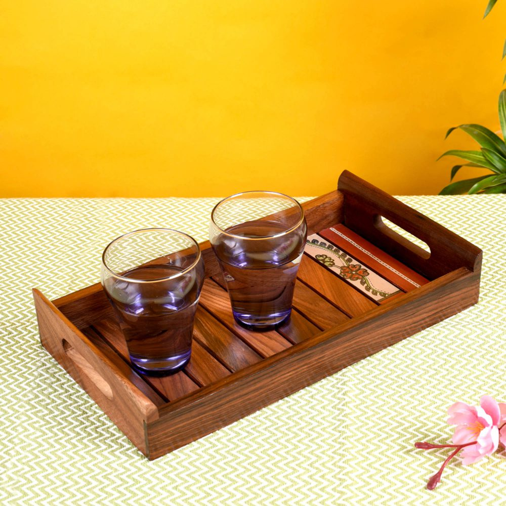 """Tray Handpainted with Flower Motifs Handcrafted in Sheesham Wood (13x7.2"""")"""