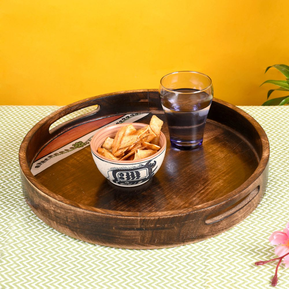 """Tray Round shape Handpainted with Flower Motifs Handcrafted in Mango Wood (12x12"""")"""