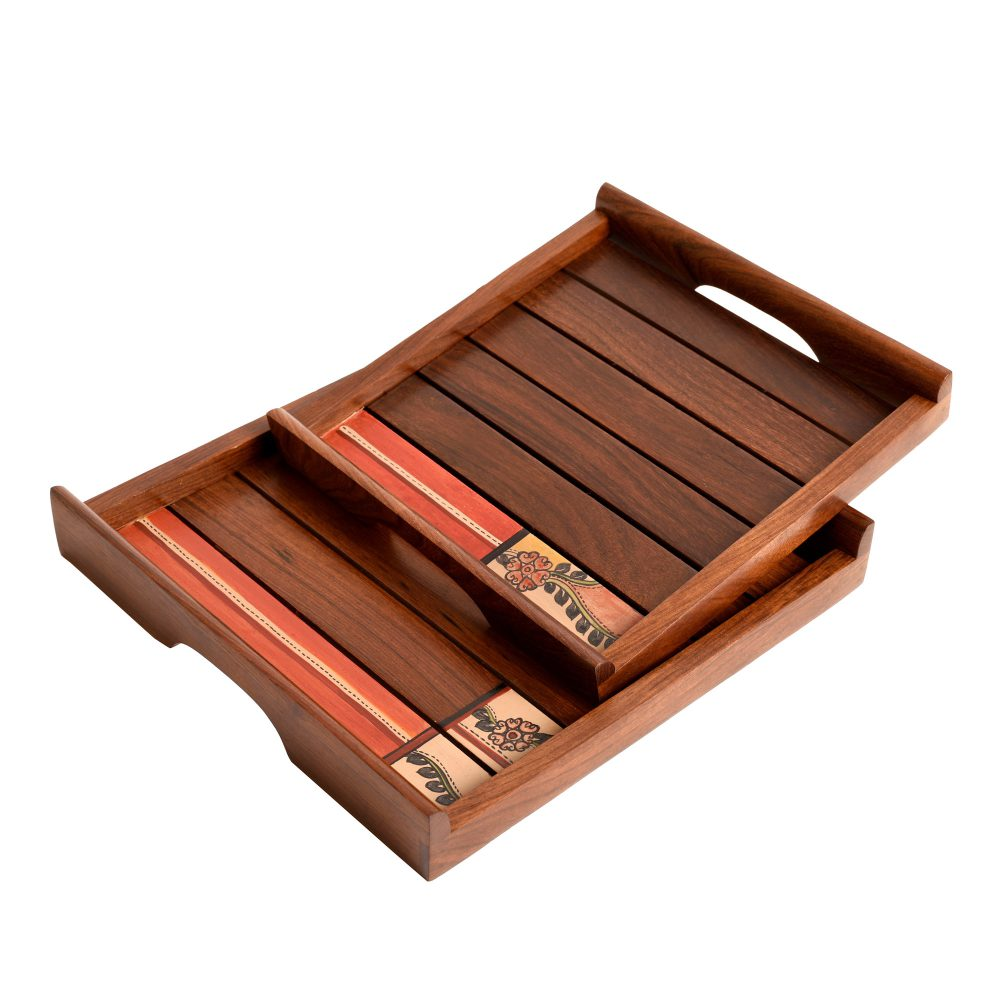"""Trays with Folk Art Handcrafted in RoseWood (set of 2) (10x10/9x9"""")"""