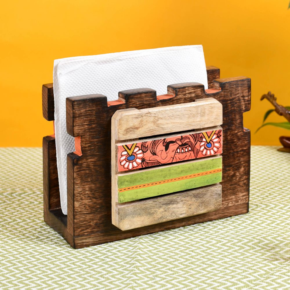 """Tissue Holder Handcrafted in Wood with Tribal Art  (7x3x5"""")"""