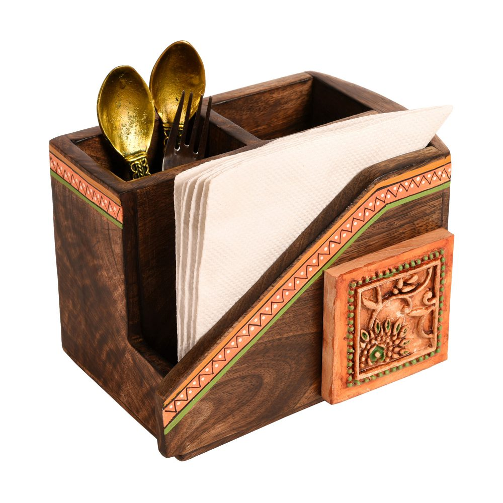 """Cutlery Holder Handcrafted in Wood with Ceramic Tile  (7.2x5x4.7"""")"""