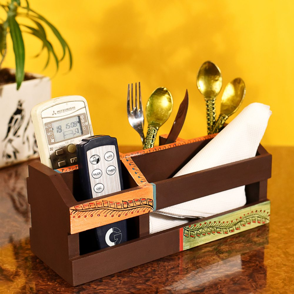 """Cutlery Holder Handcrafted in Wood with Tribal Art  (10x3.5x4"""")"""