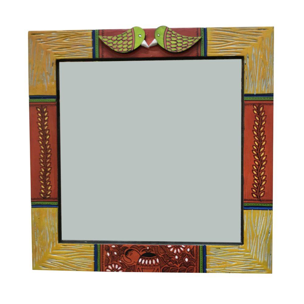 Mirror Handcrafted Madhubani Art Two Birds Motifs (13x13)
