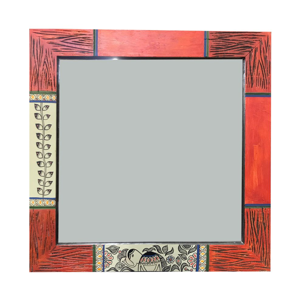 Mirror Handcrafted Madhubani Pink Design (13x13)