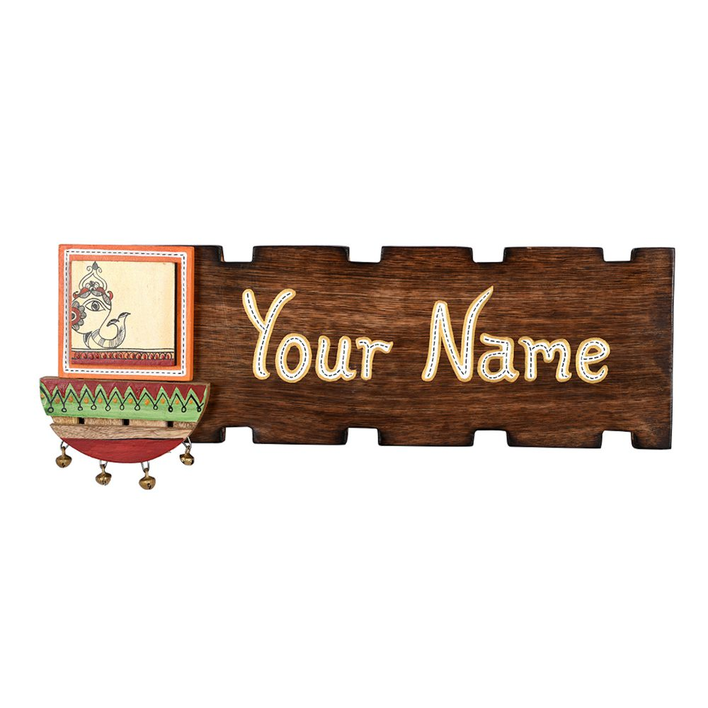 Name Plate Handcrafted with Ceramic Motif  (15x0.5x6)