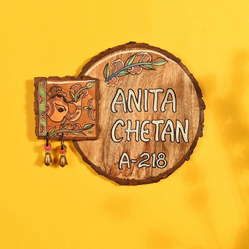 Name Plate Round Handcrafted Wooden  (11x1x9)