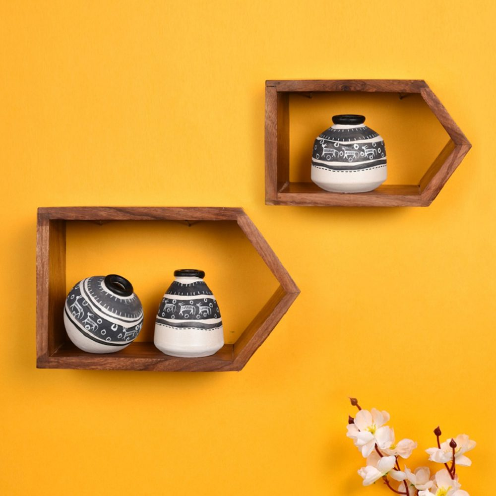 Wall Decor 2 Wooden Shelf & 3 Pots Warli White  (8x2.5x5/6x2.5x3.7)