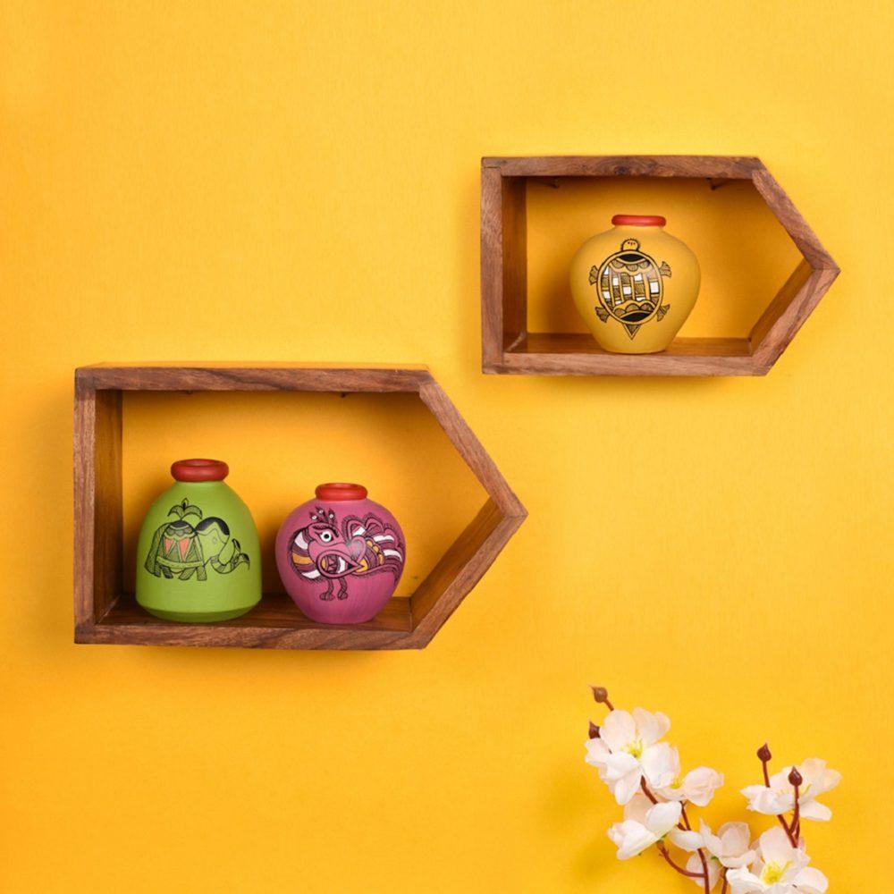 Wall Decor 2 Wooden Shelf & 3 Colored Pots Madhubani Art  (8x2.5x5/6x2.5x3.7)