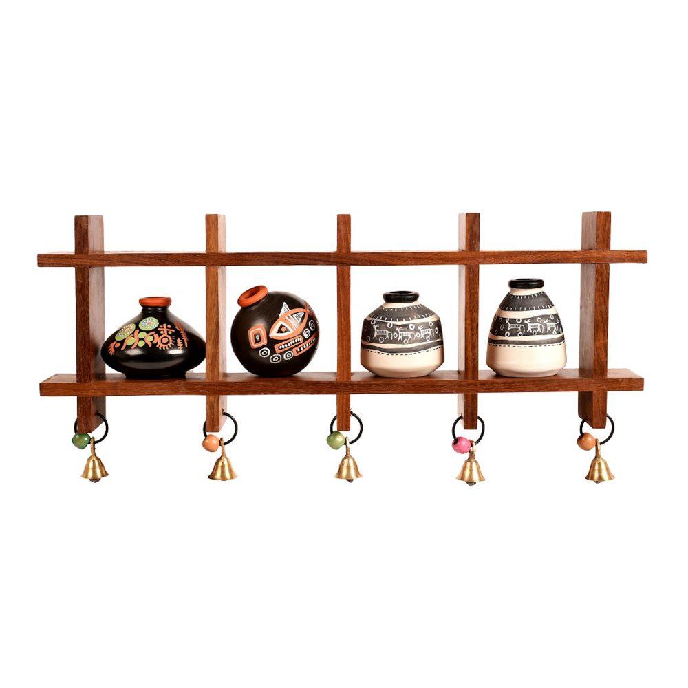 Wall Decor Ladder & 4 B&W Handcrafted Warli Pots (16x2x7.5)