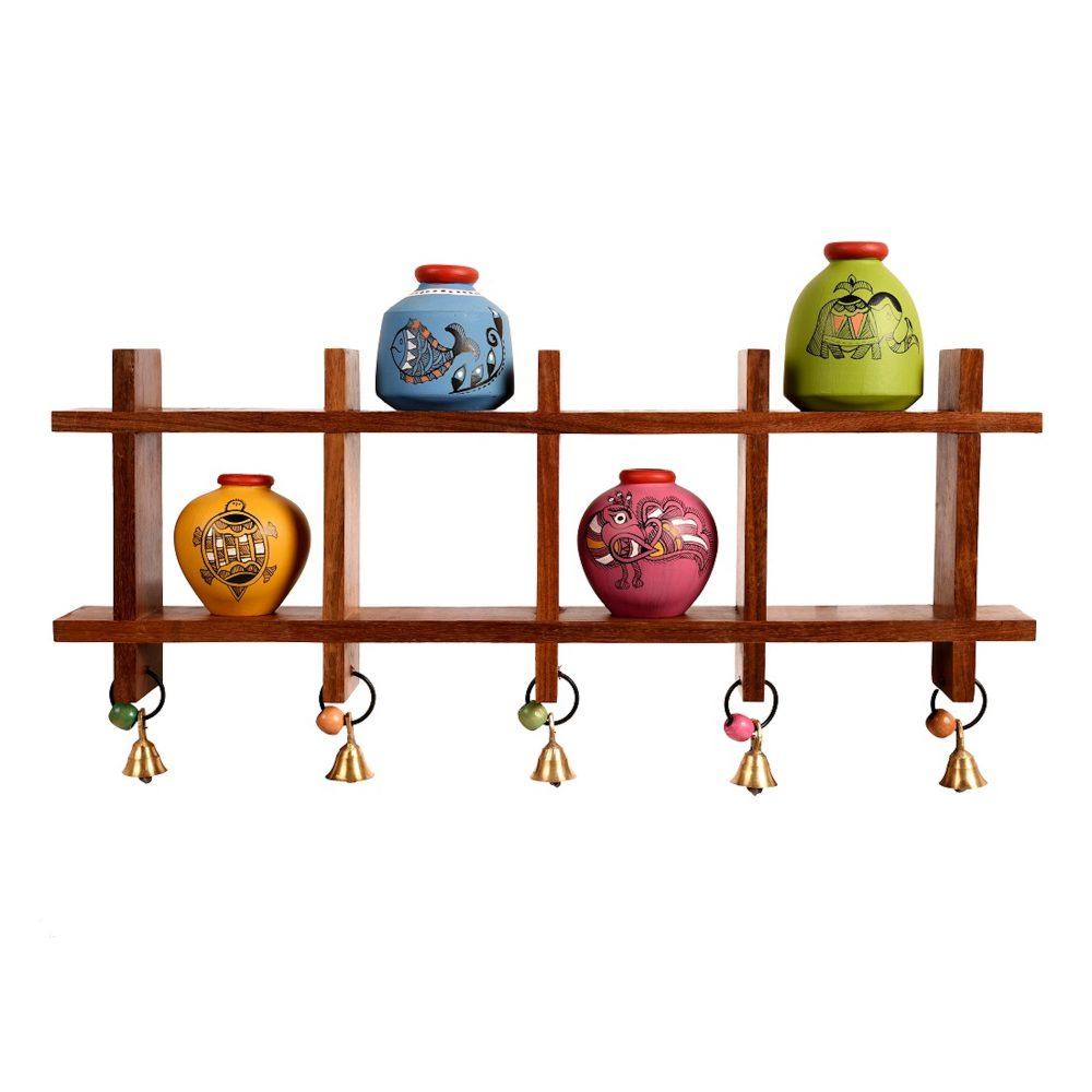Wall Decor Ladder & 4 Colored Handcrafted Madhubani Pots  (16x2x9.4)