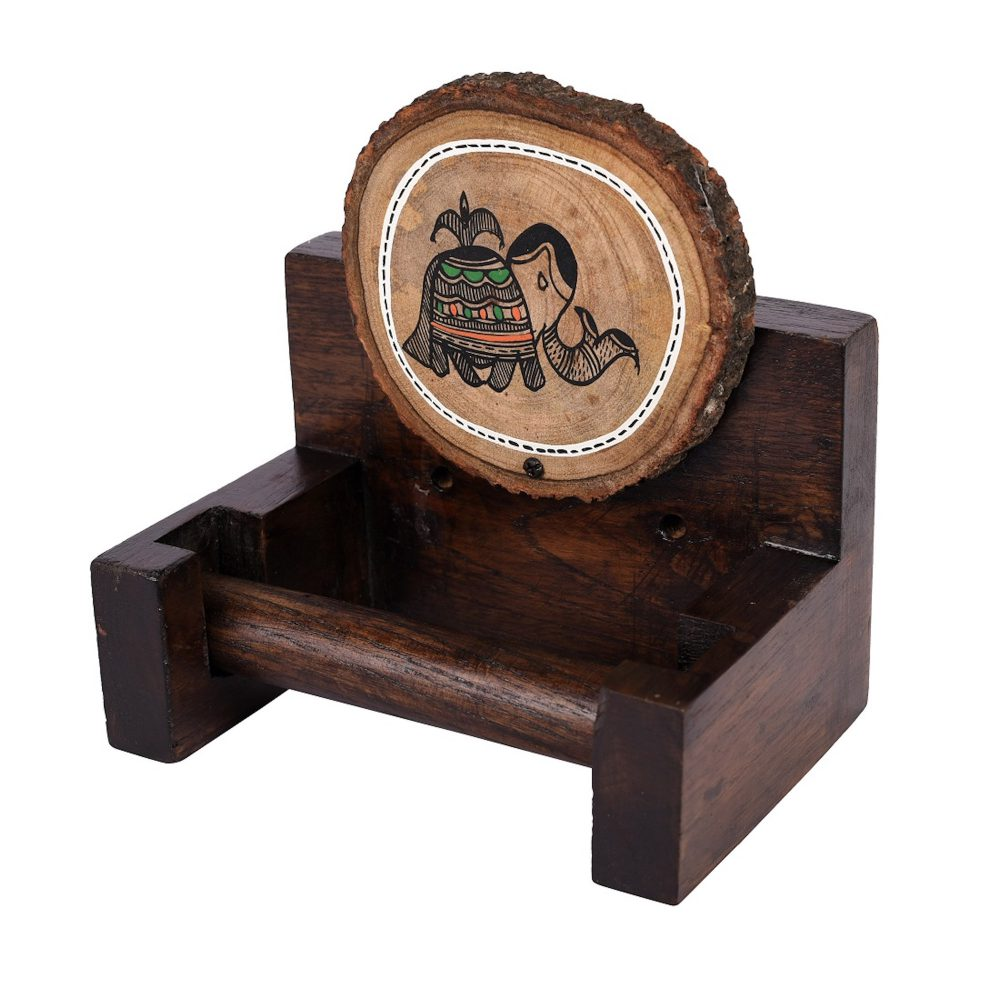 Towel Holder Handcrafted Wooden Tribal Art  (6x4x6)