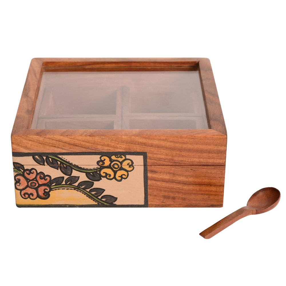 Spice Box Handcrafted Tribal Art 4 Slot Wooden with Spoon (6x6x2)