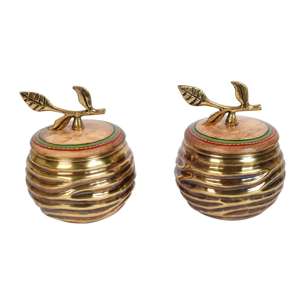 Brass Jaar with Leaf Handle Wooden Lid (Set of 2) (4.5x4)