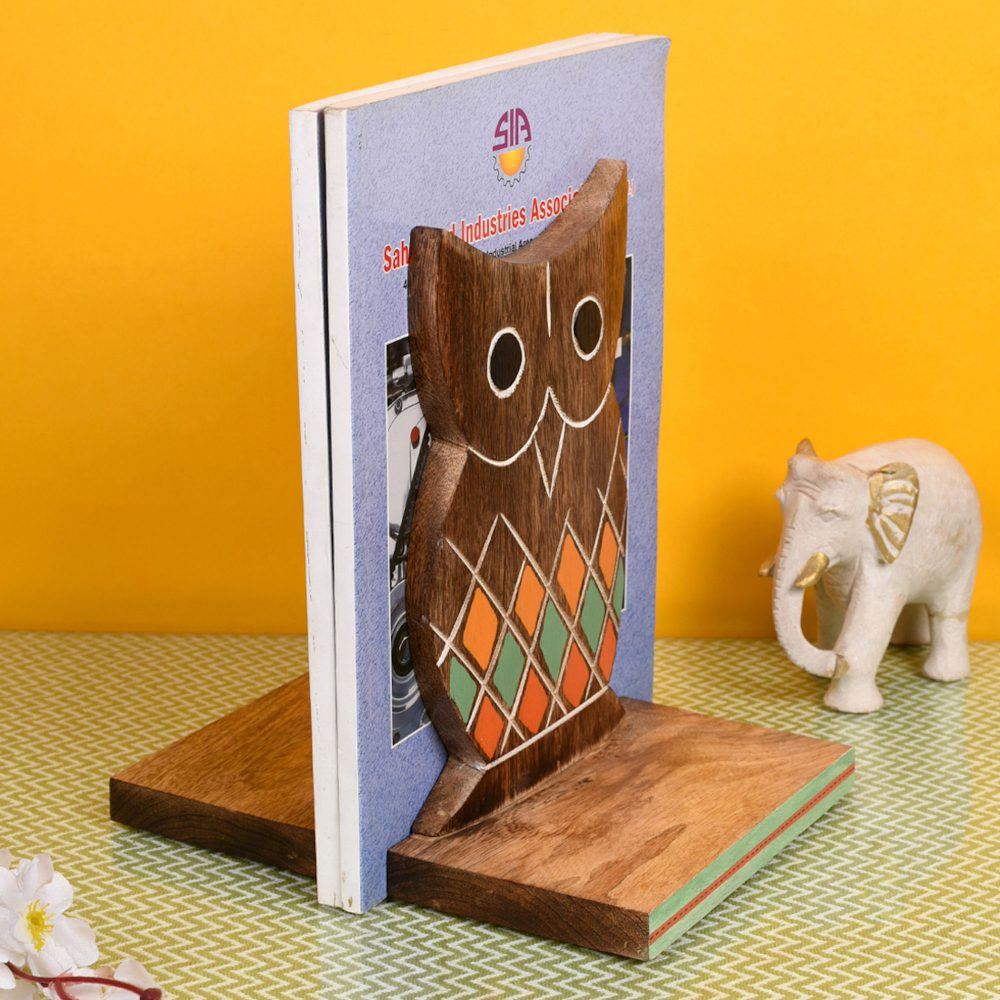 Bookend Handcrafted Wooden Owl (Set of 2)  (6.5x4x9.2)