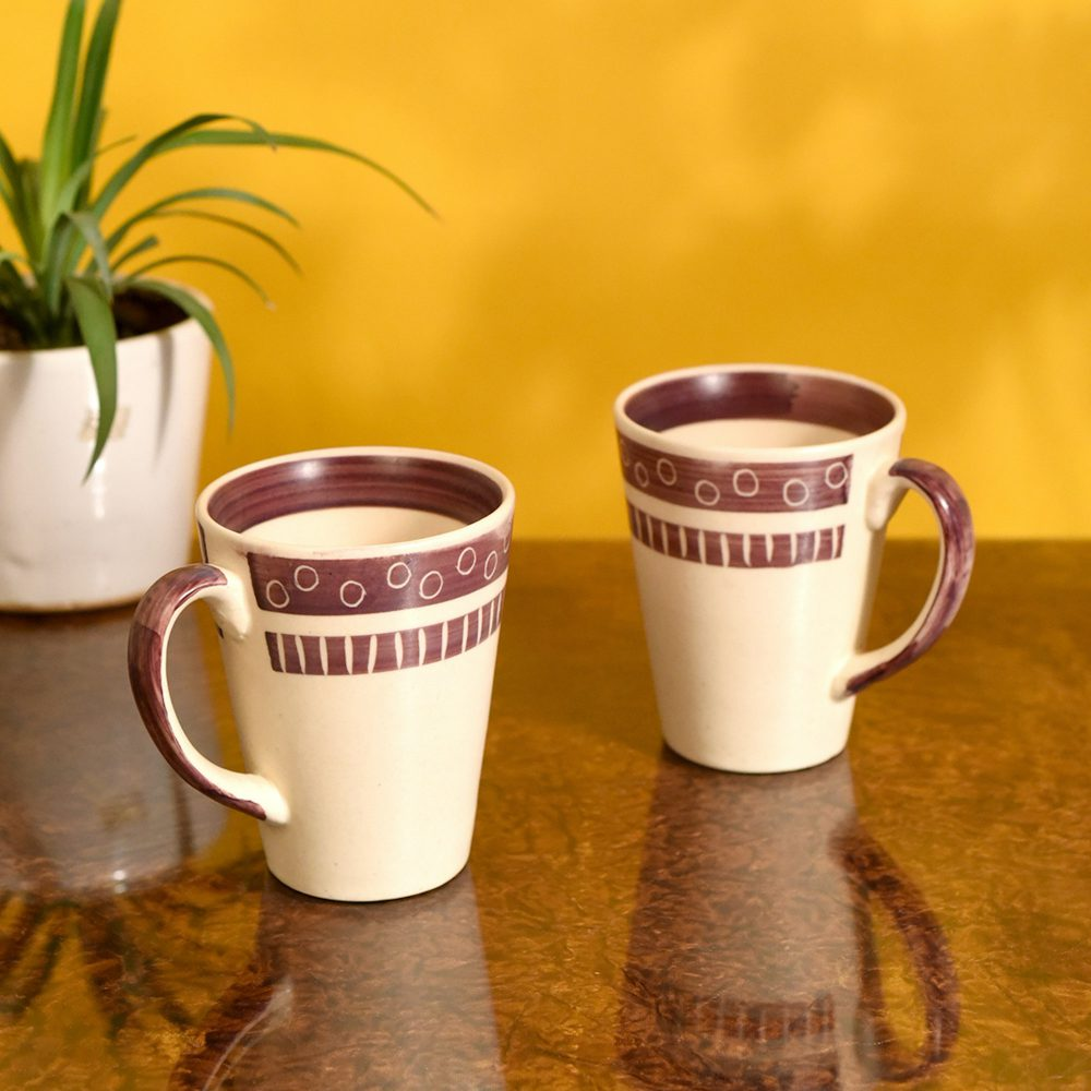Mug Ceramic Magenta Polka (Set of 2) (4x3.2x4.1)
