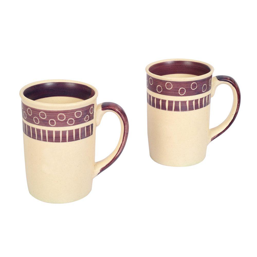 Mug Ceramic Magenta Polka (Set of 2)  (4x3x4)